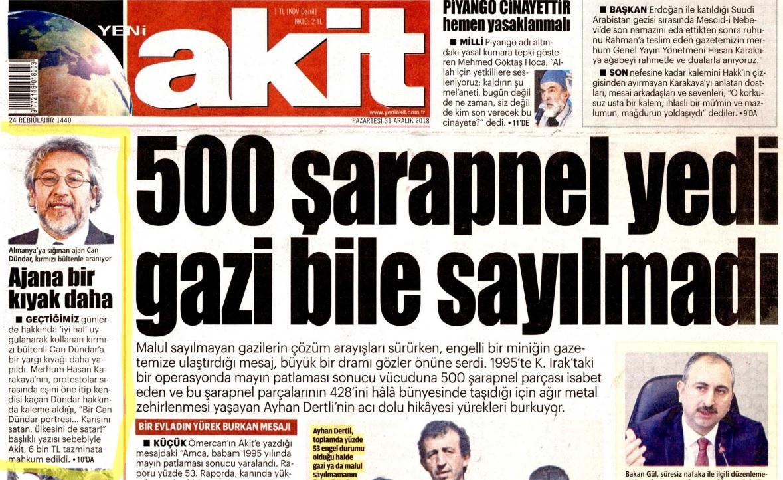"""Yeni Akit gazetesi, tazminat haberini """"Ajana bir kıyak daha"""" başlığıyla verdi"""