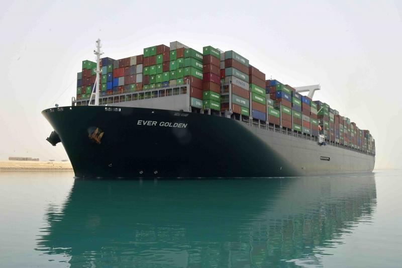 Ever Golden gemisi, Port Said'e yönelmiş olarak Süveyş Kanalı'ndan geçerken
