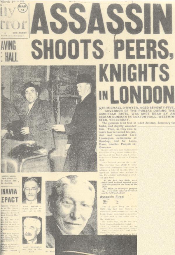 Michael O'Dwyer suikastiyle ilgili bir İngiliz gazetenin ana sayfası.jpg