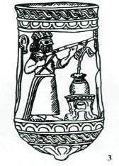 Mana ve Media medeniyetlerinin hakim olduğu sahalarda bulunan bir kap-kacakta  elinde saz aleti bulunan şahıs tasviri. M.Ö. 9-5. yüzyıl.jpg