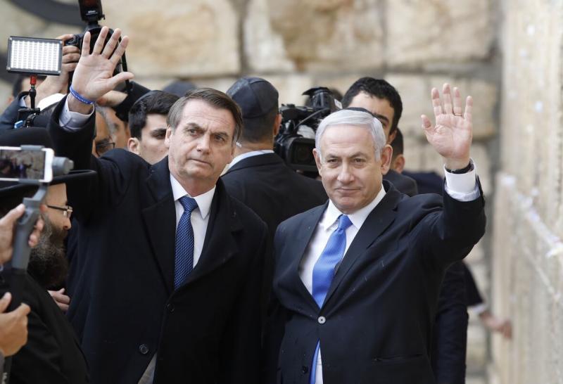 Brezilya Cumhurbaşkanı Jair Bolsonaro (L) ve İsrail Başbakanı Benjamin Netanyahu AFP.jpg