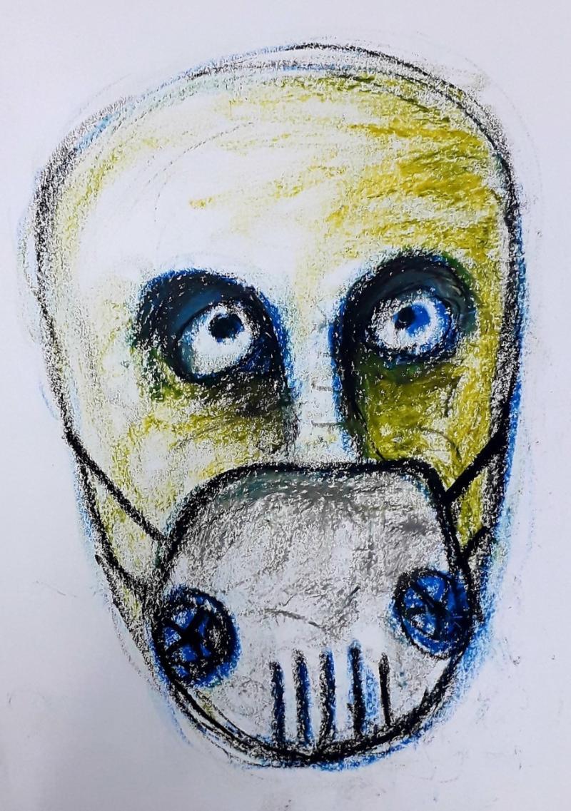 Libyalı ressam Muhammed Abdullah, ölümcül hastalığa karşı maske takılmasını resmetmiş.jpg