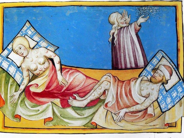 Hıyarcıklı Veba'dan acı çeken hastaların tasviri. Toggerburg İncili'den (1411) alıntılayan Wikimedia. .jpeg
