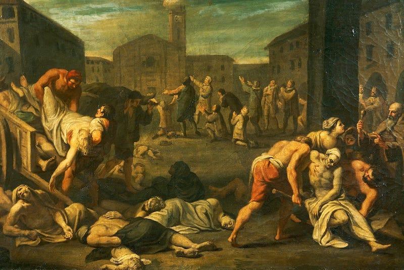 İtalya'daki vebanın 17. yüzyılından tasviri. De Agostini-Getty.jpeg