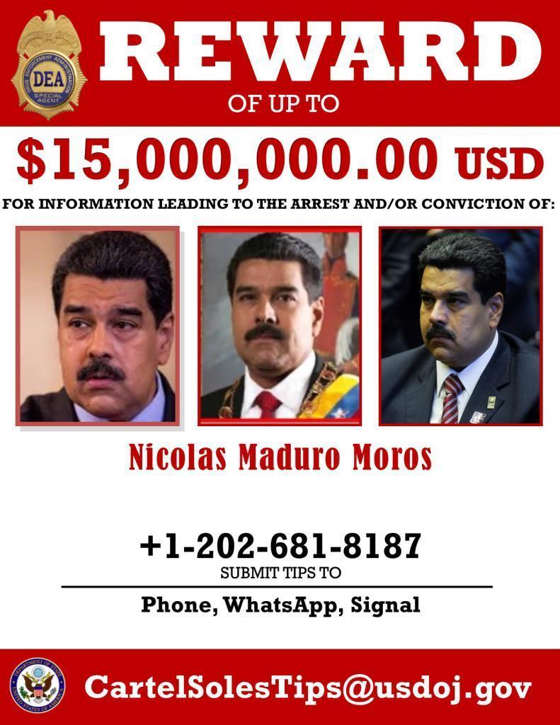 Maduro yakalanması için çıkarolan 15 milyon dolarlık ilan - Dea.jpg