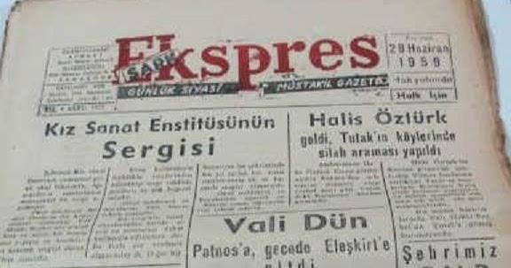 Halis Bey hakkında bir haber-Şark Ekspress gazetesi-1959.jpg
