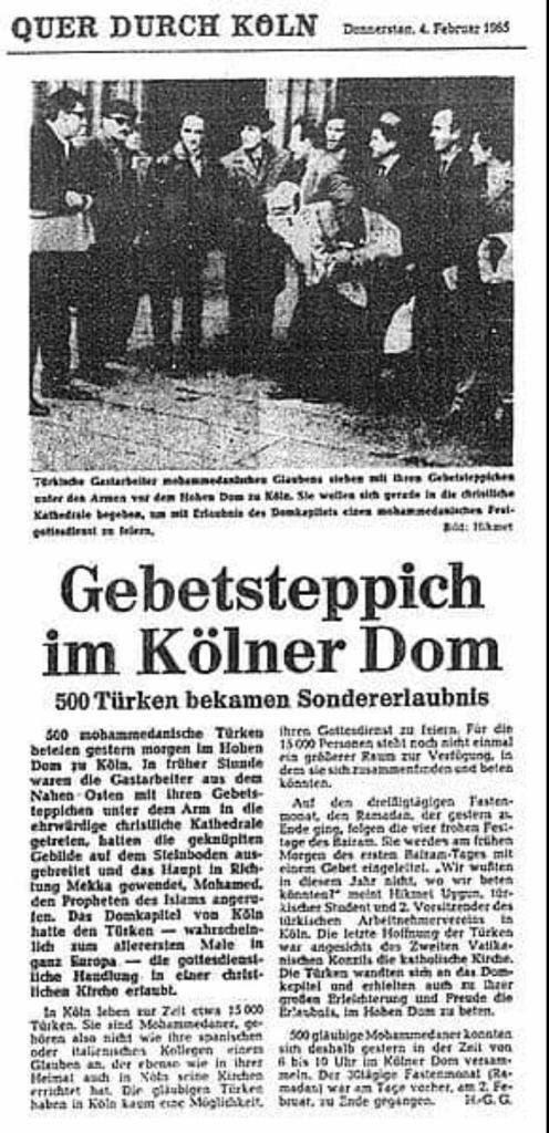 Katedralde namaz kılmaya ilişkin Almanca haber.jpg