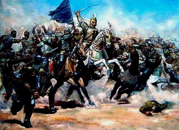 Karakoyunlu hükümdarı Kara Yusif Bey'in Şirvanşahlılarla savaş taşviri.jpg