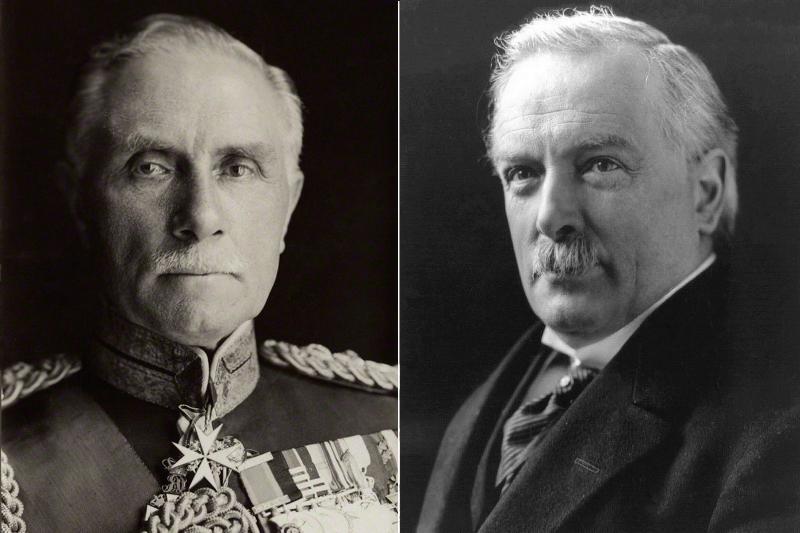 İşgal komutanı İngiliz General George Milne (solda), İngiliz Başbakanı David Lloyd George (sağda).jpg