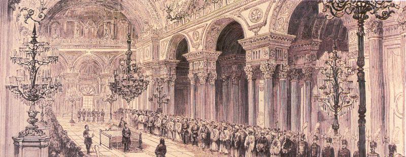 Meclisin açılış töreni, Dolmabahçe Sarayı, 1876  Wikipedia.jpg