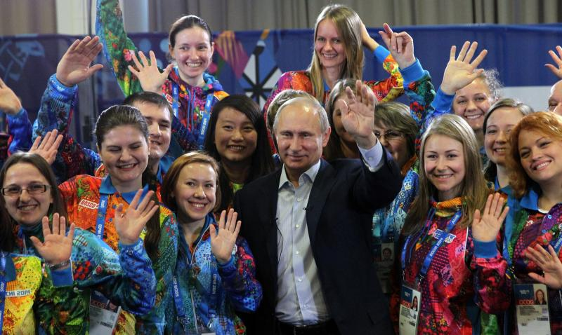 Russian President Vladimir Putin attends a meeting with Sochi Winter Olympics 2014 volunteers in Sochi, Russia, January,17,2014. Putin has arrived to Sochi to inspect Winter Olympics objects. (Photo by.jpg