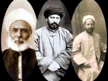 Yeni (modern) Selefiliğin üç önemli ismi- Afganistanlı Cemaleddin Afgani, Mısırlı Şeyh Muhammed Abdu ve Lübnanlı Reşid Rıza.jpg