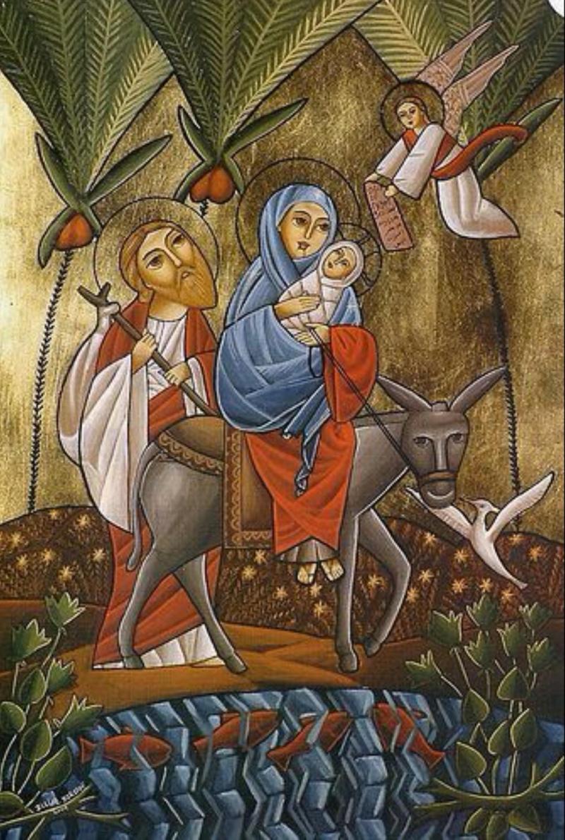 Kutsal Aile, yolculuk sırasında melekler tarafından korunmasına ilişkin  tasvir.jpg