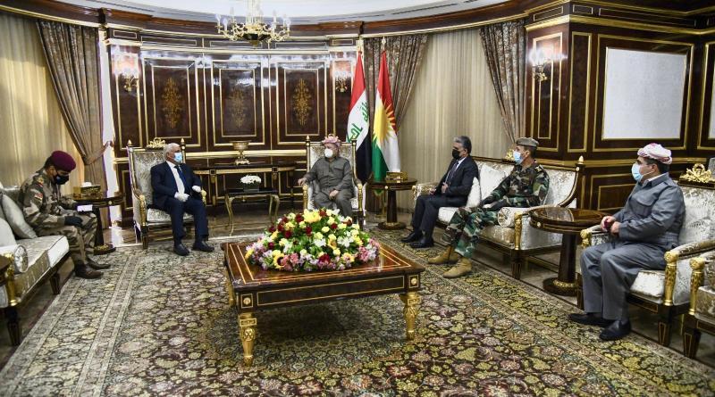 Haşdi Şabi Başkanı Feyyad ve Irak Genelkurmay Başkanı Yarullah, Erbil saldırısından sonra eski IKB Başkanı Barzani ile bir araya geldi