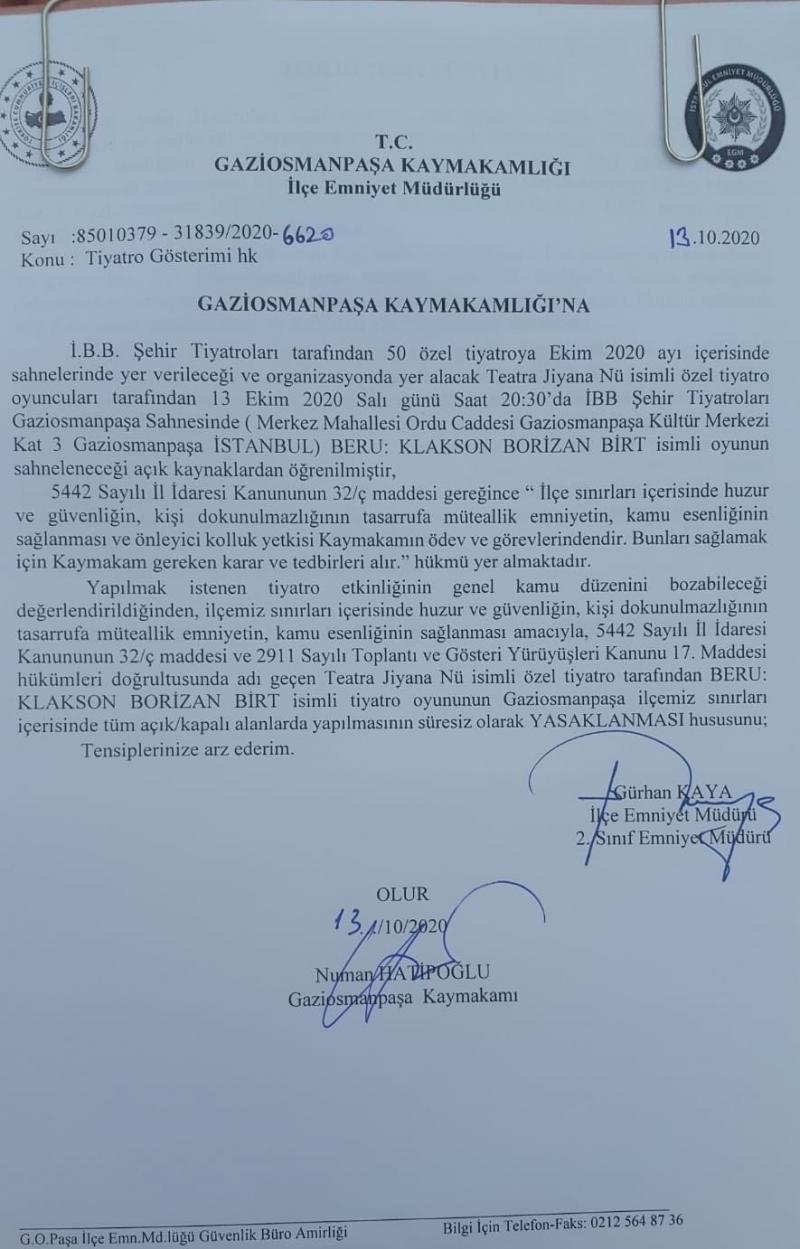 Gaziosmanpaşa Emniyet Müdürü Gürkan Kaya'nın imzasını taşıyan dilekçe