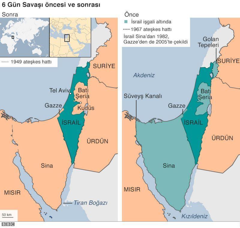 Haritada gösterilen açık mavi yerler İsrail tarafından işgal edildi. .jpg