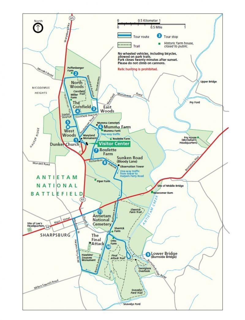 Antietam Muharebe Alanı gezi haritası.jpg
