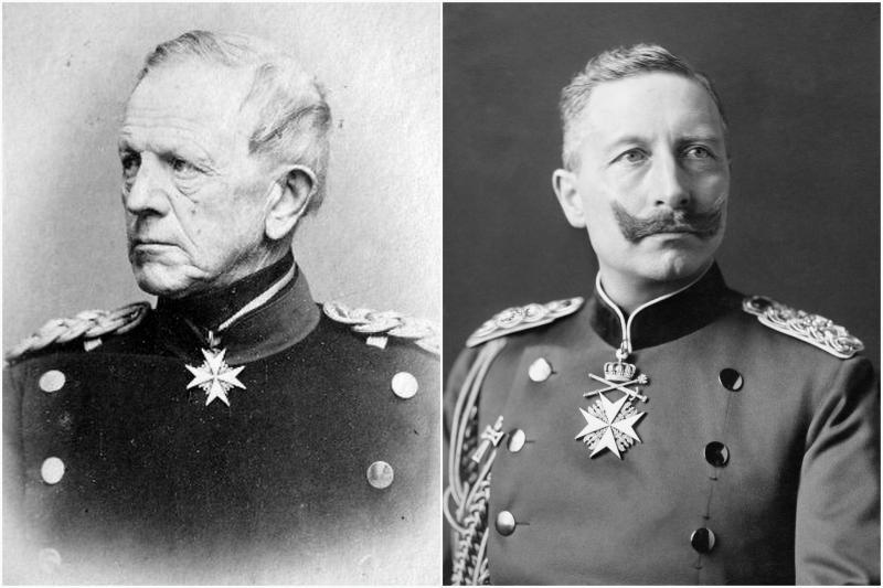 Helmuth Karl Bernhard von Moltke (solda), II. Wilhelm (sağda).jpg