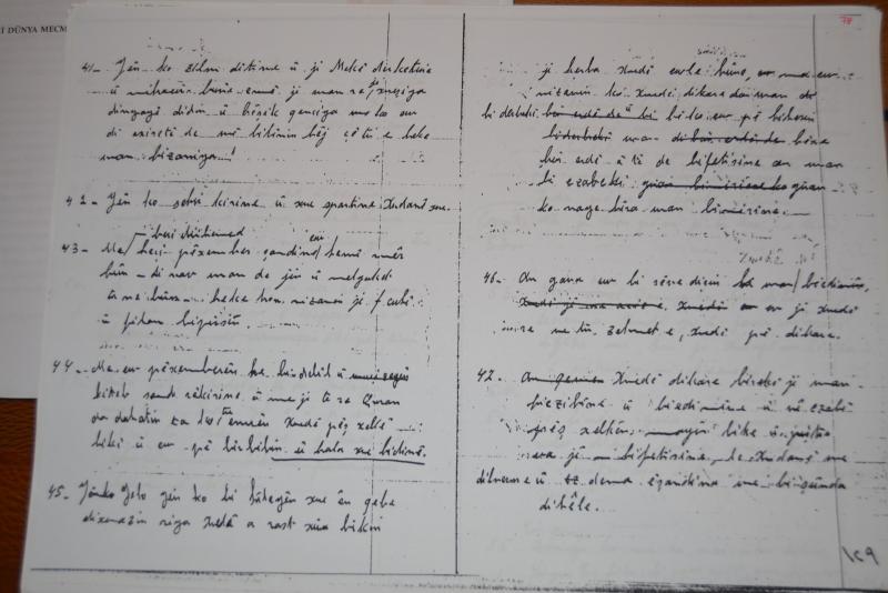 Kamuran Bedirhan'ın el yazmaları