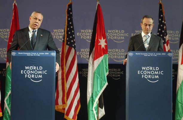 Eski Ürdün Dışişleri Bakanı Mervan el Mu'aşer ABD'li mevkidaşı Collin Powel ile
