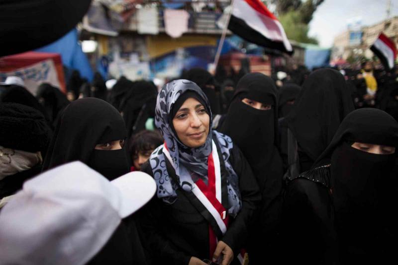 Gazeteci Tevekkul Kerman'ın Mart 2011- Yemenli muhalif Gazeteci Tevekkul Kerman'ın  başkent Sana'a'da  katıldığı bir protesto-Jonathan Saruk-Get.jpg