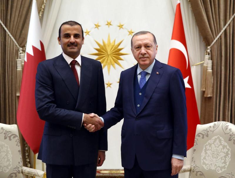 Katar Emiri Temim bin Hamad el Sani ile Cumhurbaşkanı R. Tayyip Erdoğan, birlikte hareket eden iki müttefik.jpg