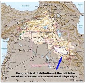 Caf aşireti mensubu kabilelerin İran ve Irak'taki dağılımını gösteren harita.jpg