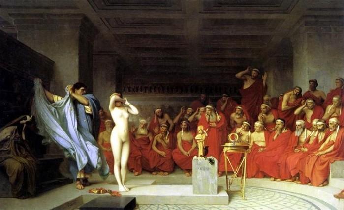 Aristokratlar kadın köleyi inceliyorlar