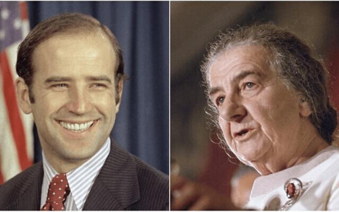 Delaware bölgesi senatörü seçilmiş genç Biden, 13 Aralık 1970 ve 22 Ekim 1970'te ABD'yi ziyaret edip konuşan eski İsrail Başbakanı Golda Meir-ka.png