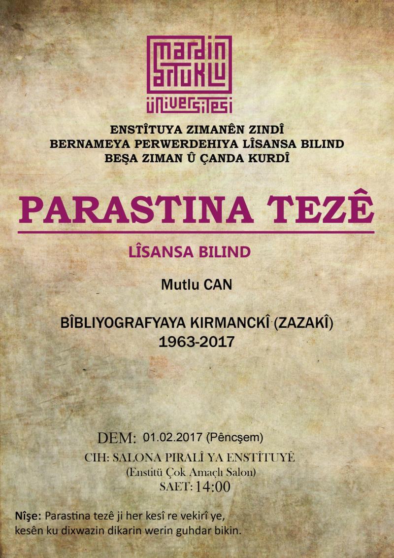 Akademisyen  Mutlu Can'ın hazırladığı  Kırmanckî Bibliyogrası kitabının kapağı.jpg