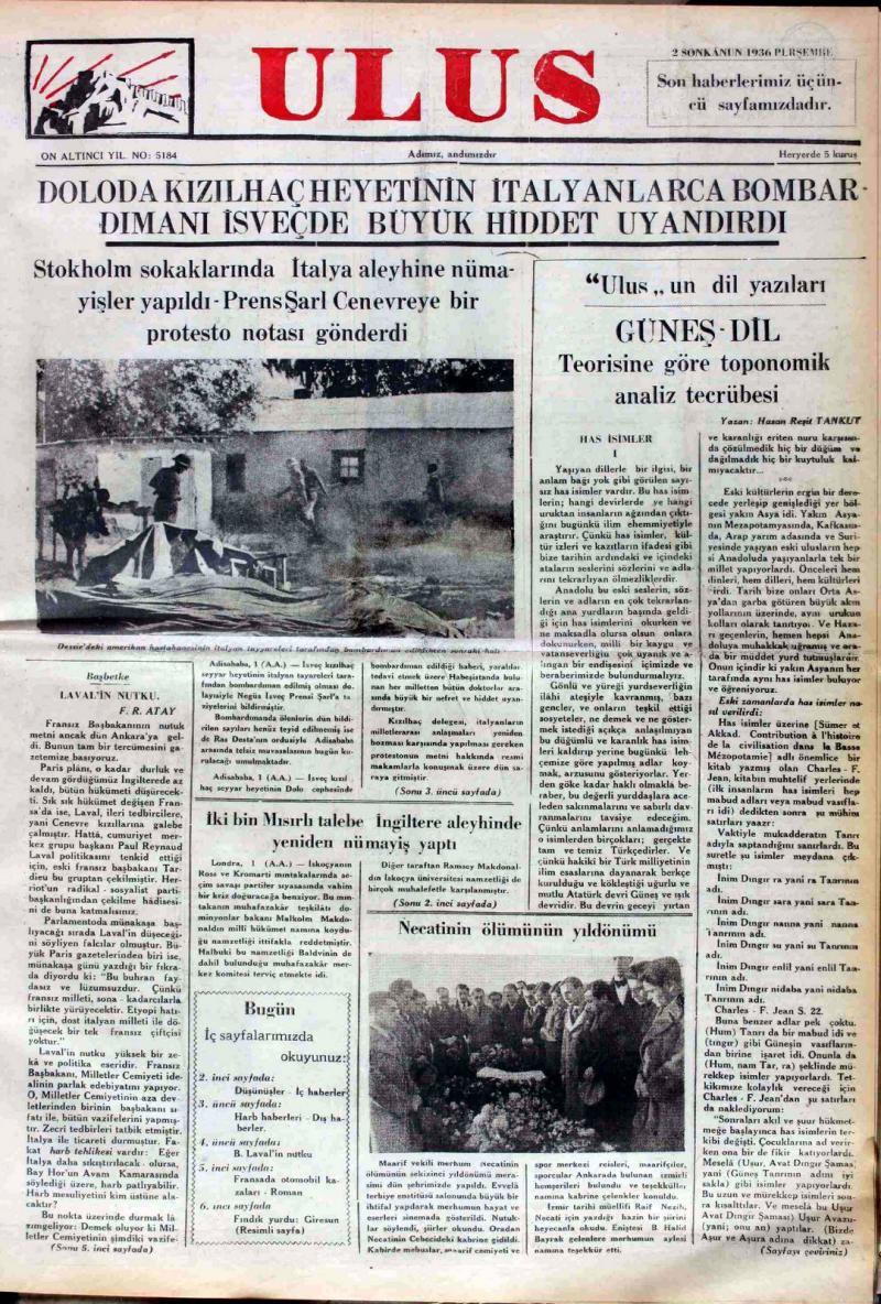 H.Reşit Tankut'un Ulus gazetesinde Güneş-Dil Teoirisi üzerine yazdığı makale, 1936-01-02-0.jpg