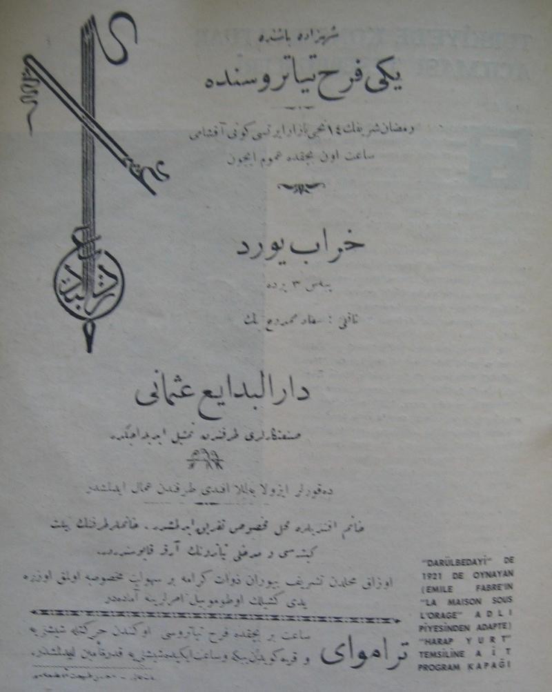 """Dârülbedâyi'de oynanan """"Harap Yurt"""" adlı piyesin program kapağı (1921).jpg"""