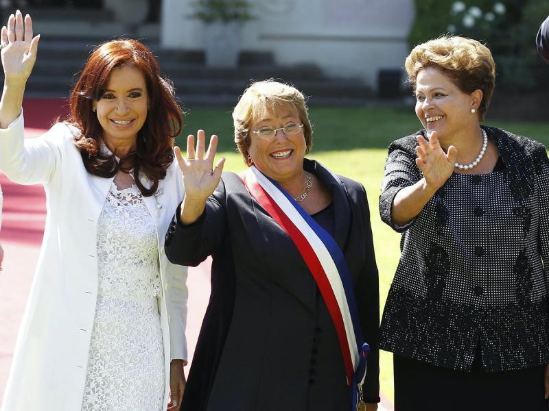 Şili'nin eski Başkanı Bachelet, Arjantin'in eski Başkanı Fernandez de Kirchner ve Brezilya'nın eski Cumhurbaşkanı Rousseff Rodrigo Garrido Reuters.jpg