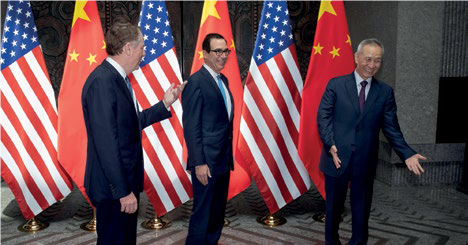 21 Temmuz 2019, Çin Başkan yardımcısLiu He, ABD Ticari Temsilcisi Robert Lighthizer ve Hazine Bakanı Seteven Manuchin ile Şanghay'da buluştu. Fotoğraf NG Han Guan-Pool Reuters kanalıyla.png