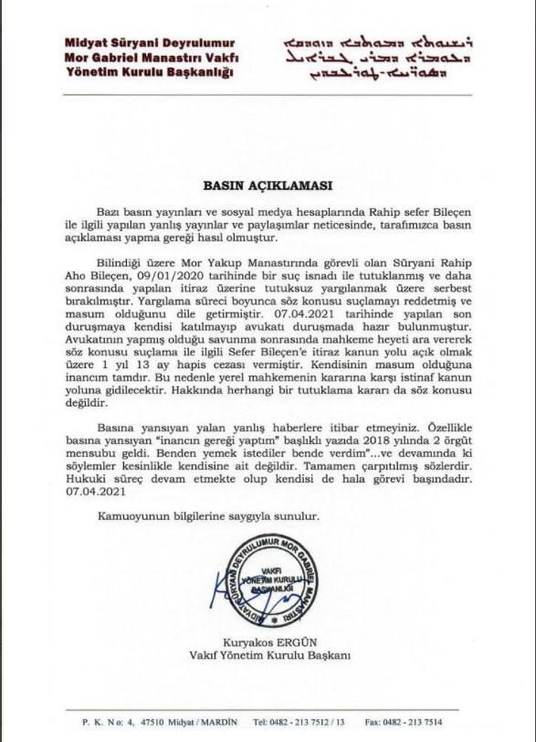 Midyat Süryani Deyrulumur Mor Gabriel Manastırı Vakfı açıklaması
