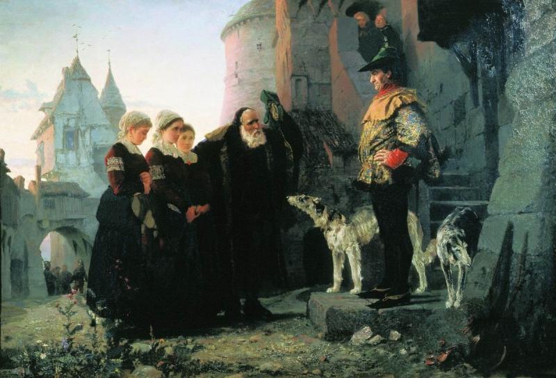 Yaşlı adam fedoal genç kızlarını Yörenin ağasına takdim ediyor, Vasiliy Polenov tablosu, 1874.jpg