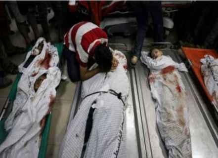 İsrail bombardımanında katledilen çocukların naaşları.jpg