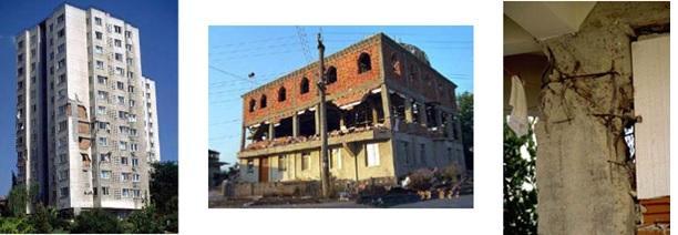 Sekil 3. 1999 Kocaeli Depremi sirasinda betonarme binalarda gorulen dolgu duvar hasarlari ve sonucunda olusan bina zayifliklari.jpg