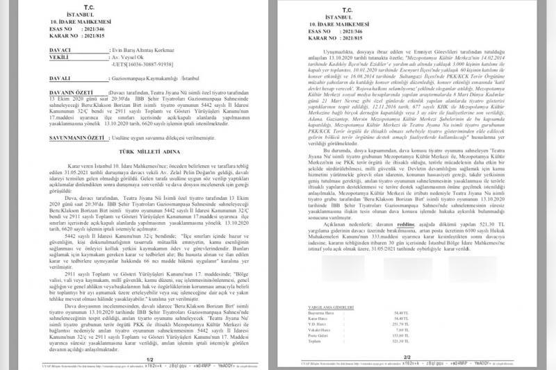 İstanbul 10 İdare Mahkemesi'nin ret kararı