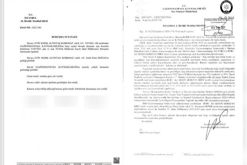 Duruşma tutanağı ve Gaziosmanpaşa Kaymakamlığı'nın yasak kararı