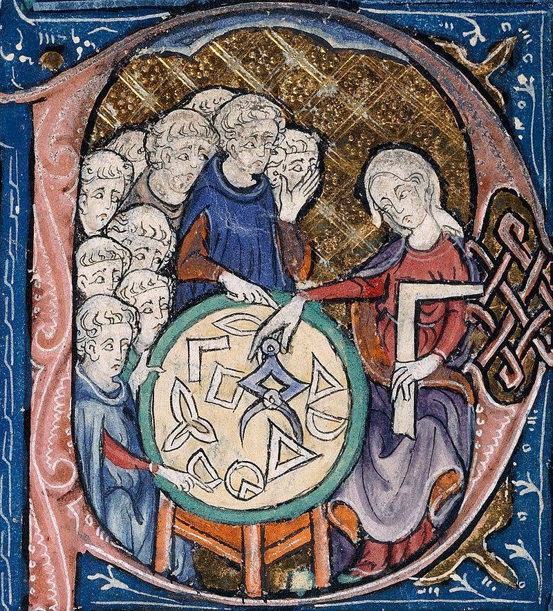 Kadın öğretmenin 16. yüzyılda geometri dersi verirken .jpg