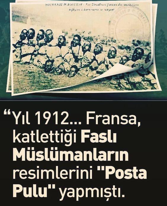 Fransa 1912 yılında Fas'ta katlettiği Müslümanların resmini posta pulu olarak kullandı.jpg