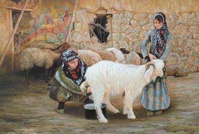 Şeybızıni kadını berivancılık yapıyor, süt sağıyor-Irak.jpg