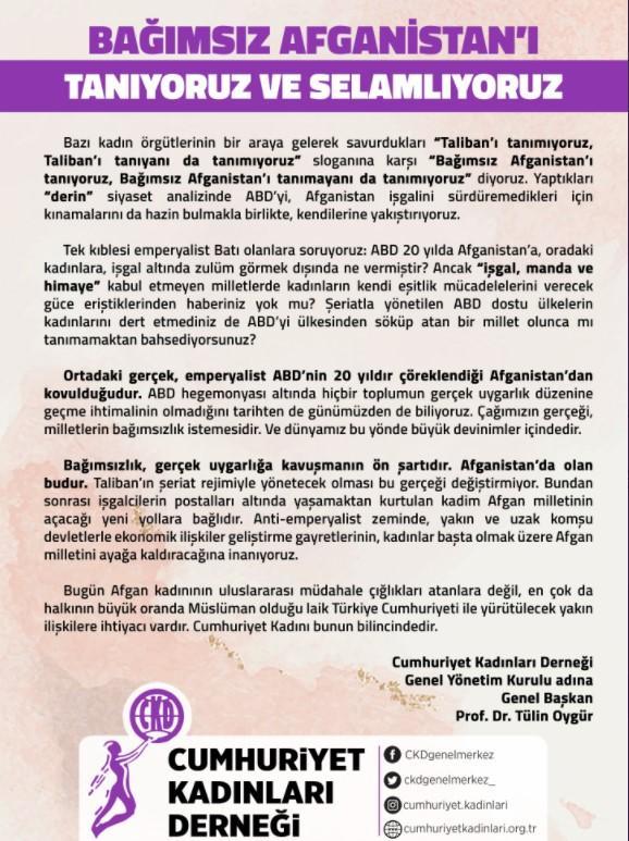 Cumhuriyet Kadınları Derneği açıklaması