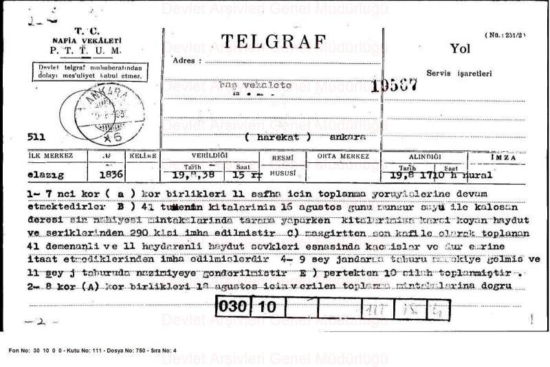 Dersim ve çevresinde askeri operasyonun gidişatı hakkındaki  raporun telgraf yoluyla Ankara'ya bildirilmiş hali.jpg