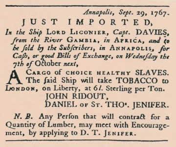 Kölelerin ulaştığına dair haber, Advertisement in the October 1, 1767, Maryland Gazette Newspaper.jpg
