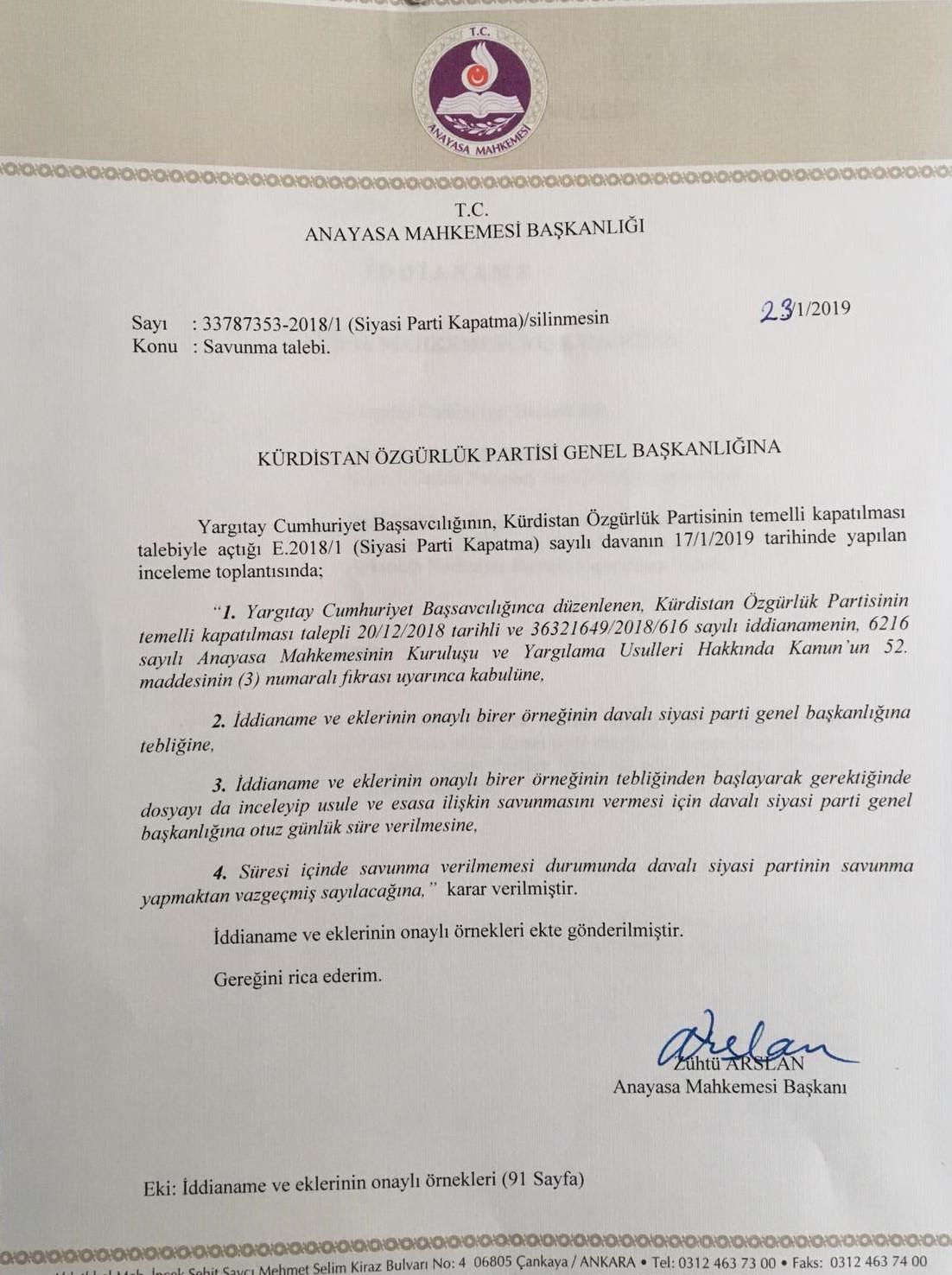 Anayasa Mahkemesi'nin Kürt partilere gönderdiği savunma talebi