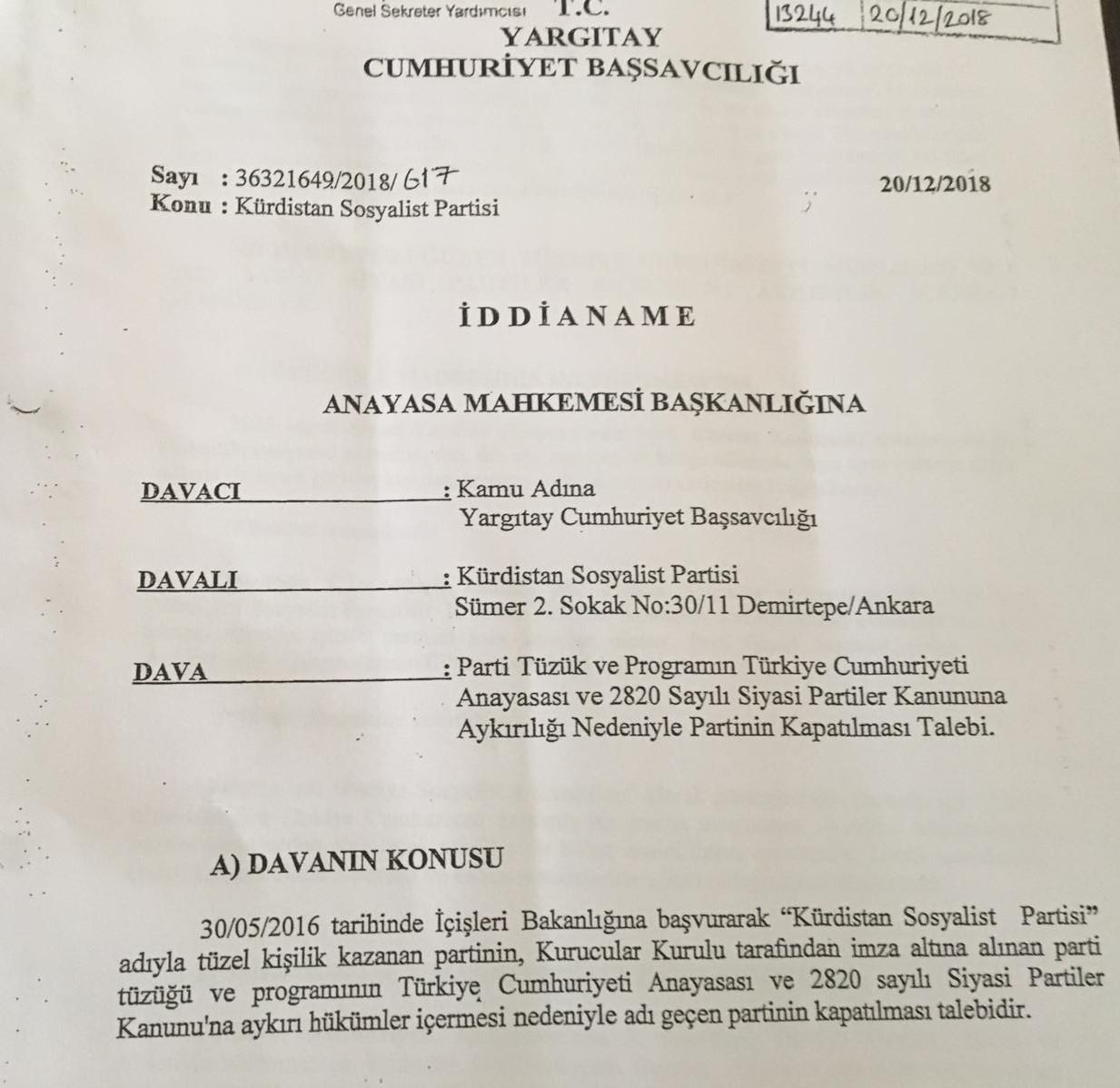 Yargıtay Cumhuriyet Başsavcılığı'nın PSK'ye gönderdiği kapatma talebi