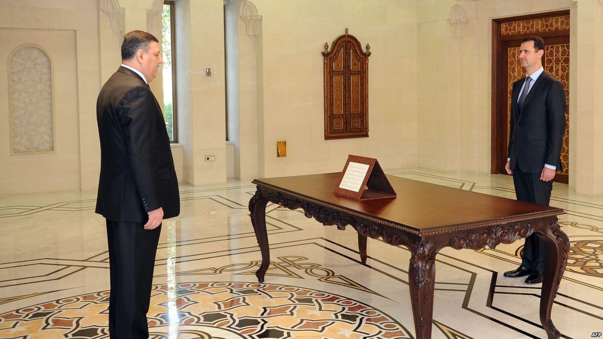 Suriye Başbakanı Riyad Hicab ve Beşşar Esad