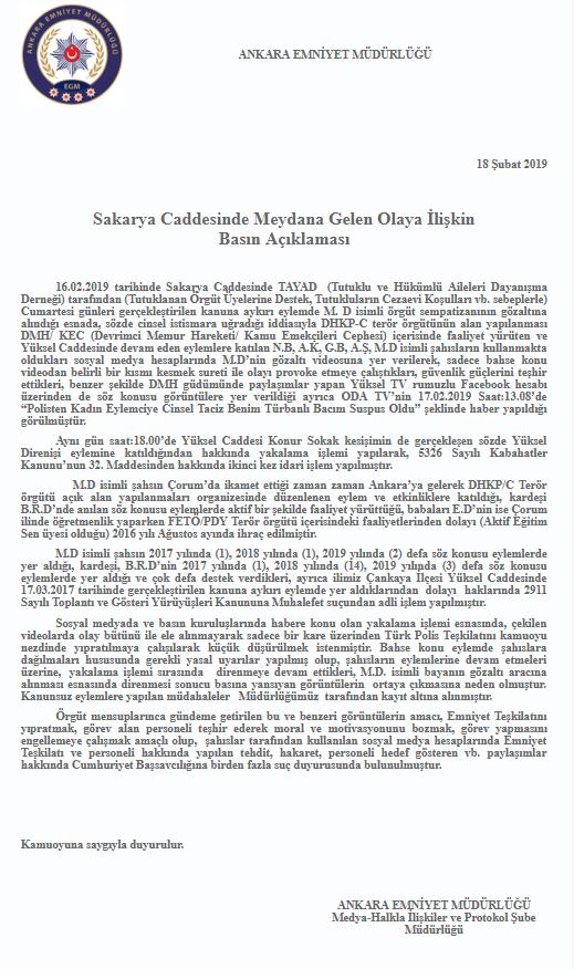 Ankara Emniyet Müdürlüğü'nün açıklaması